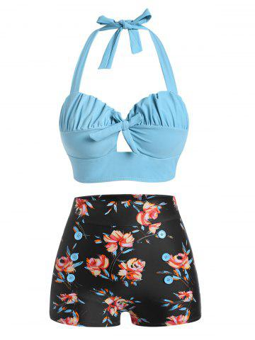 Halter Floral Ruched Bikini Swimwear - LIGHT SKY BLUE - 2XL