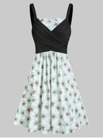 Flower Print Ruched A Line Wrap Dress