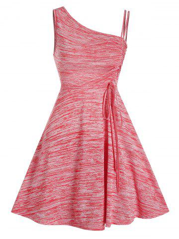 Sleeveless Space Dye Print Cinched Dress - VALENTINE RED - 2XL