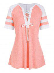Colorblock Stripes Panel Lace Up Plus Size Top -