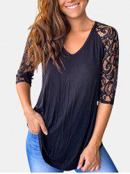Lace Panel Raglan Sleeve Curved Hem Top -