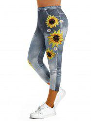 Sunflower 3D Print Crop Jeggings -