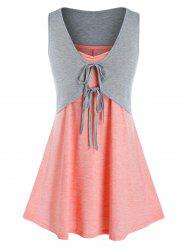 Plus Size Tie Crop Top and Swing Camisole Set -