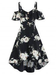 Floral Print Mock Button Cold Shoulder High Low Dress -