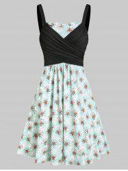 Flower Print Ruched A Line Wrap Dress -
