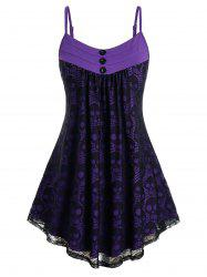 Plus Size Skull Lace Pleated Tunic Cami Top -
