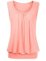 Solid Ruched Blouson Plus Size Tank Top -