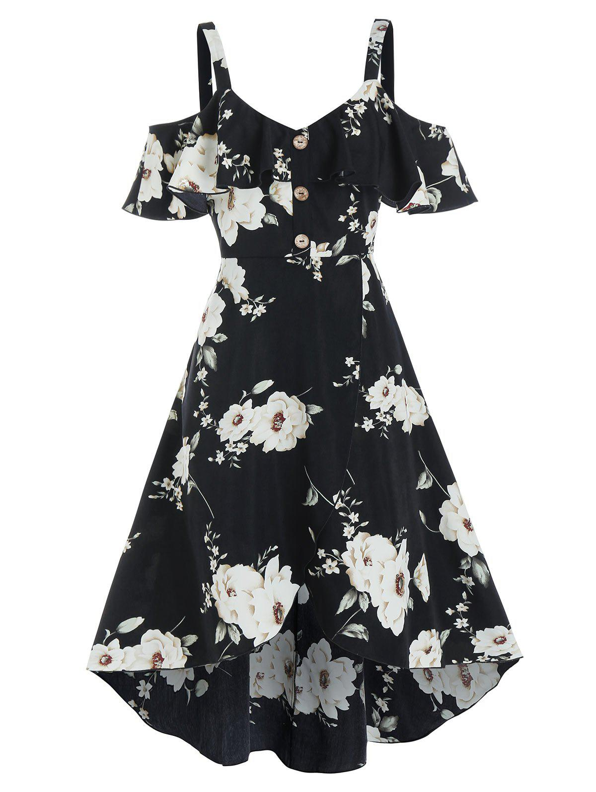 Outfit Floral Print Mock Button Cold Shoulder High Low Dress