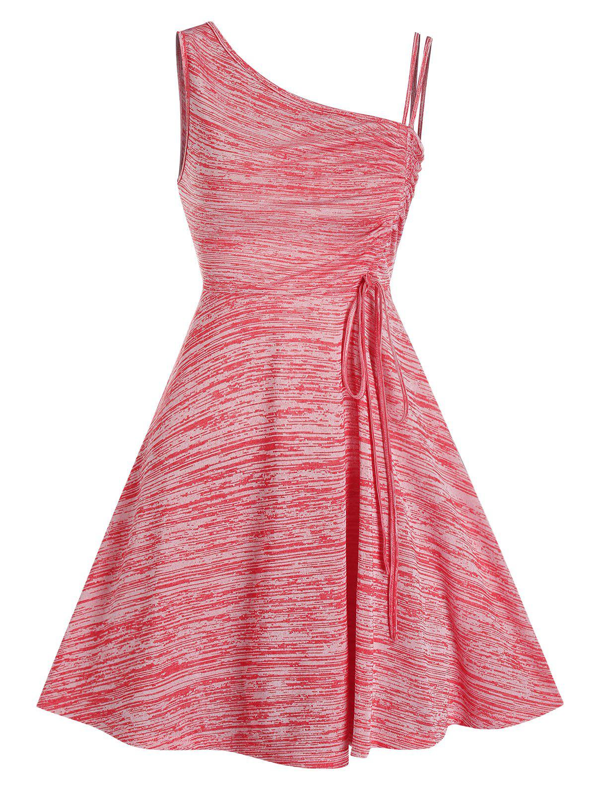 Chic Sleeveless Space Dye Print Cinched Dress
