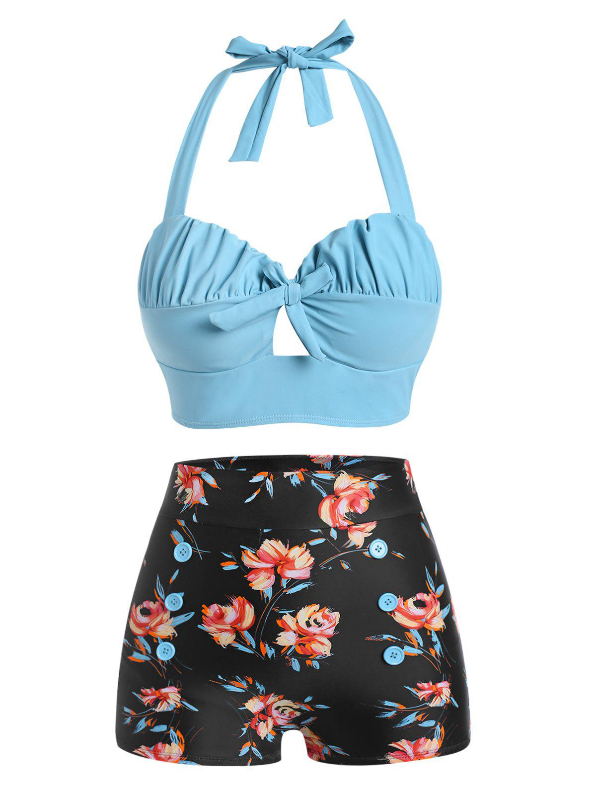 Hot Halter Floral Ruched Bikini Swimwear