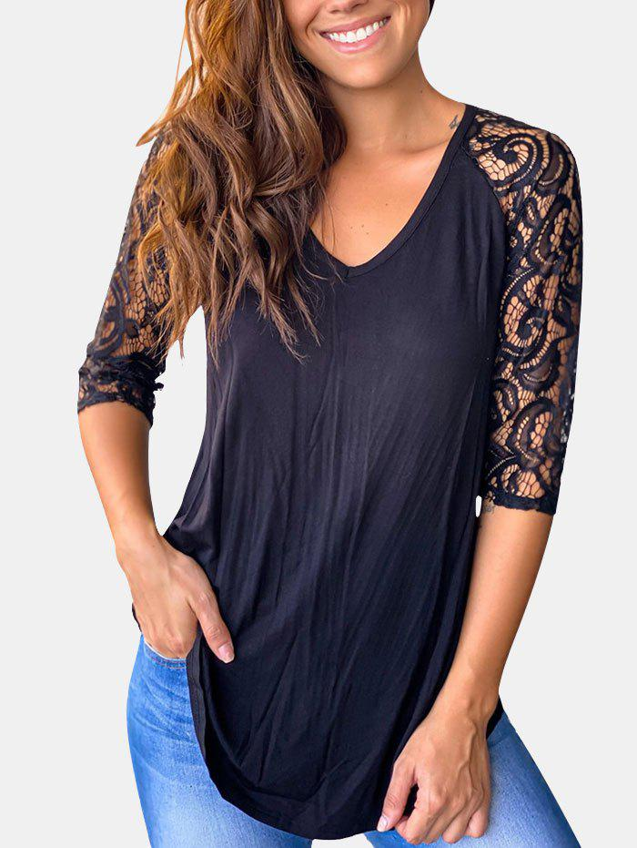 Store Lace Panel Raglan Sleeve Curved Hem Top