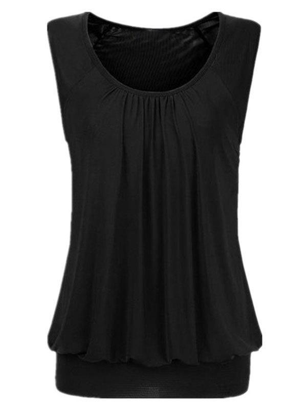 Buy Solid Ruched Blouson Plus Size Tank Top