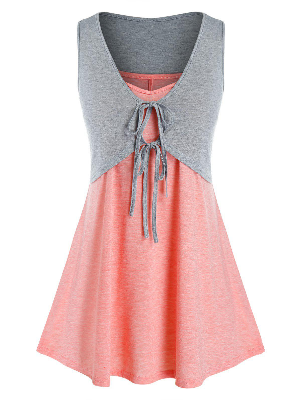Sale Plus Size Tie Crop Top and Swing Camisole Set