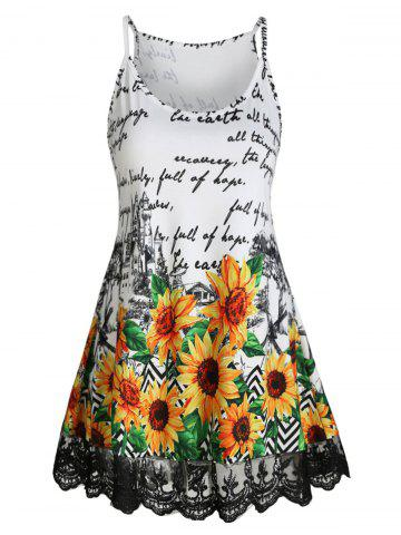 Lace Panel Letter Sunflower Cami Top