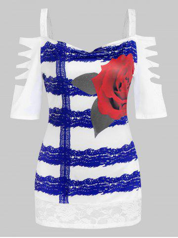 Flower Print Cold Shoulder Lace Insert Ripped T-shirt - BLUE - L