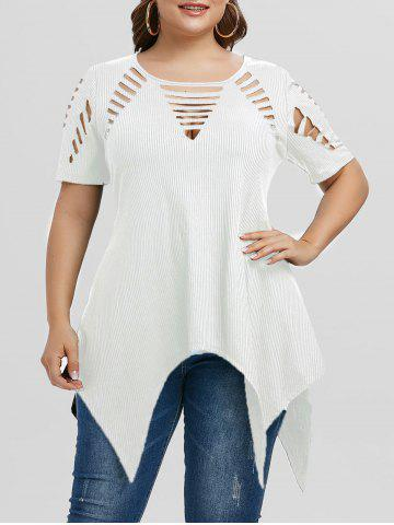 Plus Size Asymmetric Ripped Cutout Ribbed Handkerchief Tee - WHITE - 3X