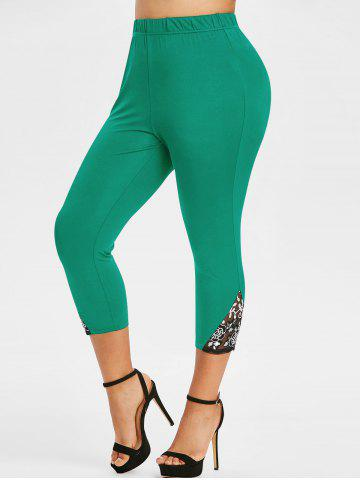Plus Size Lace Mesh Sequin Fitted Leggings - DEEP GREEN - L