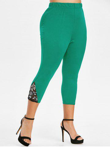 Plus Size Lace Mesh Sequin Fitted Leggings