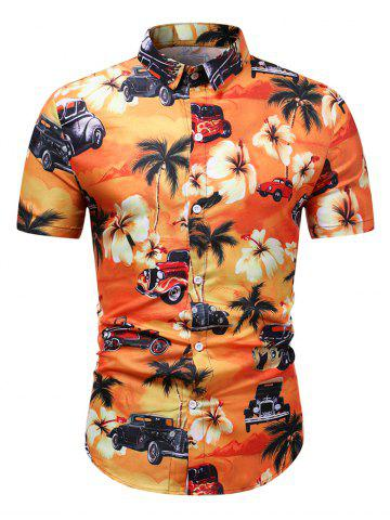 Flower Palm Tree Car Print Beach Shirt