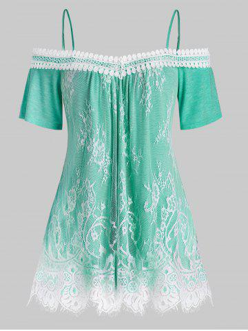 Plus Size Lace Overlay Open Shoulder T Shirt - LIGHT AQUAMARINE - 3X