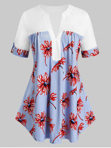 Plus Size Roll Up Sleeve Floral Print T Shirt - WHITE - 2X