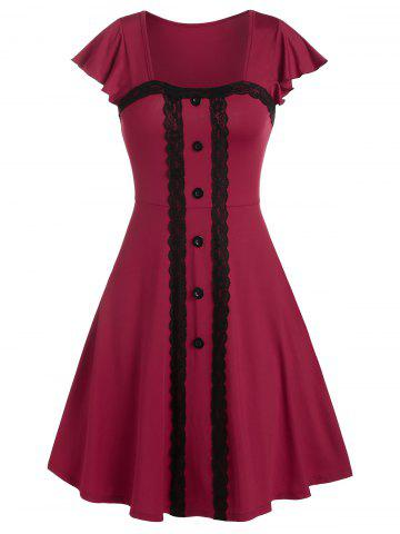 Square Collar Lace Trim Flare Sleeve A Line Dress