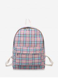 Plaid Print Canvas School Student Backpack -