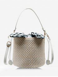 Rabbit Ear Straw Drawstring Bucket Bag -