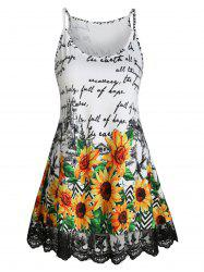 Lace Panel Letter Sunflower Cami Top -