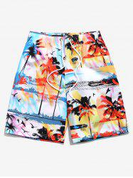 Palm Tree Landscape Printed Beach Shorts -