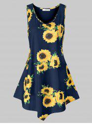 Plus Size Asymmetric Sunflower Print Tank Top -