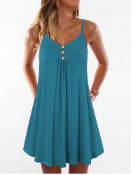 Mock Button Spaghetti Strap Trapeze Dress -