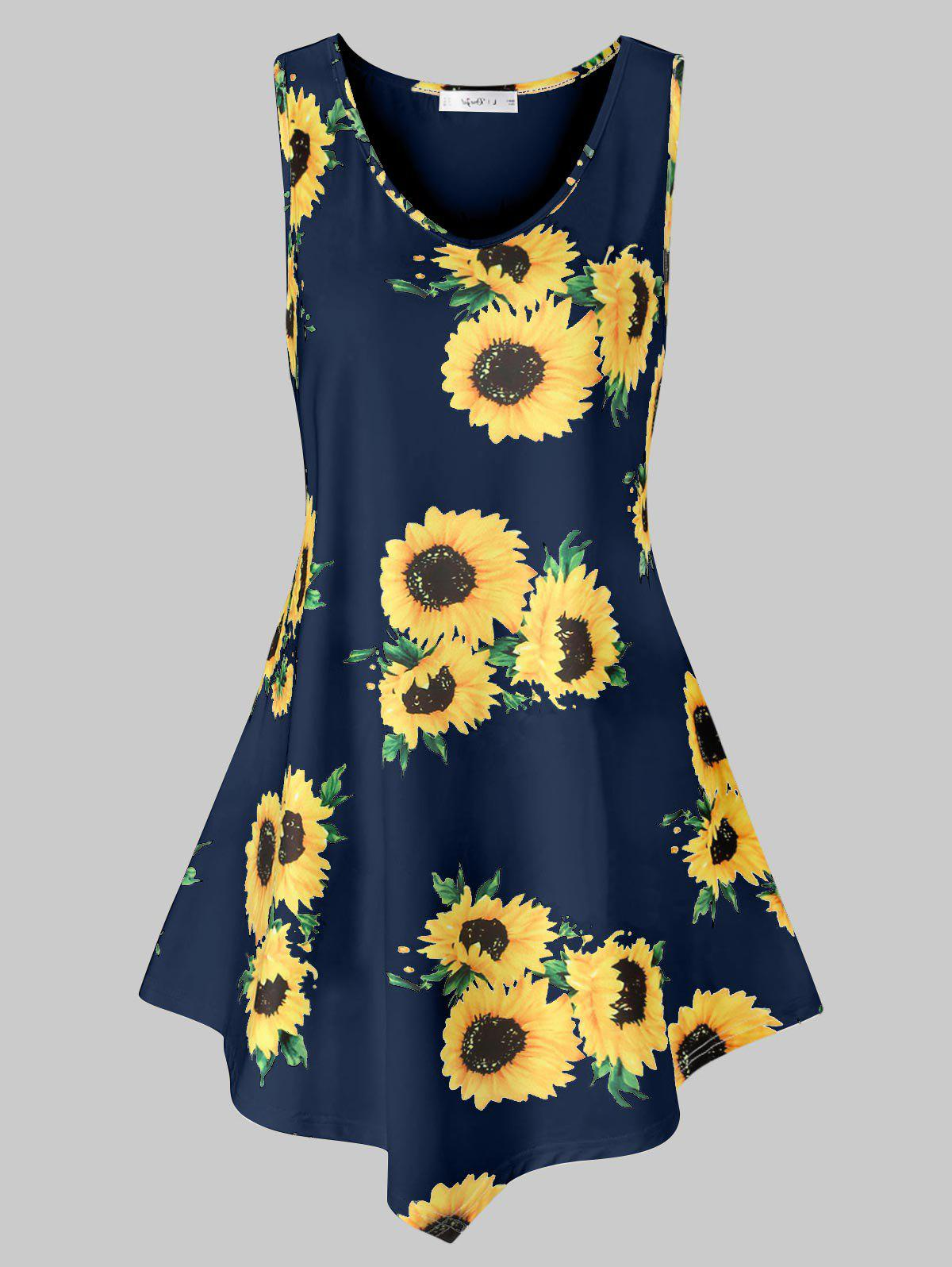 Buy Plus Size Asymmetric Sunflower Print Tank Top