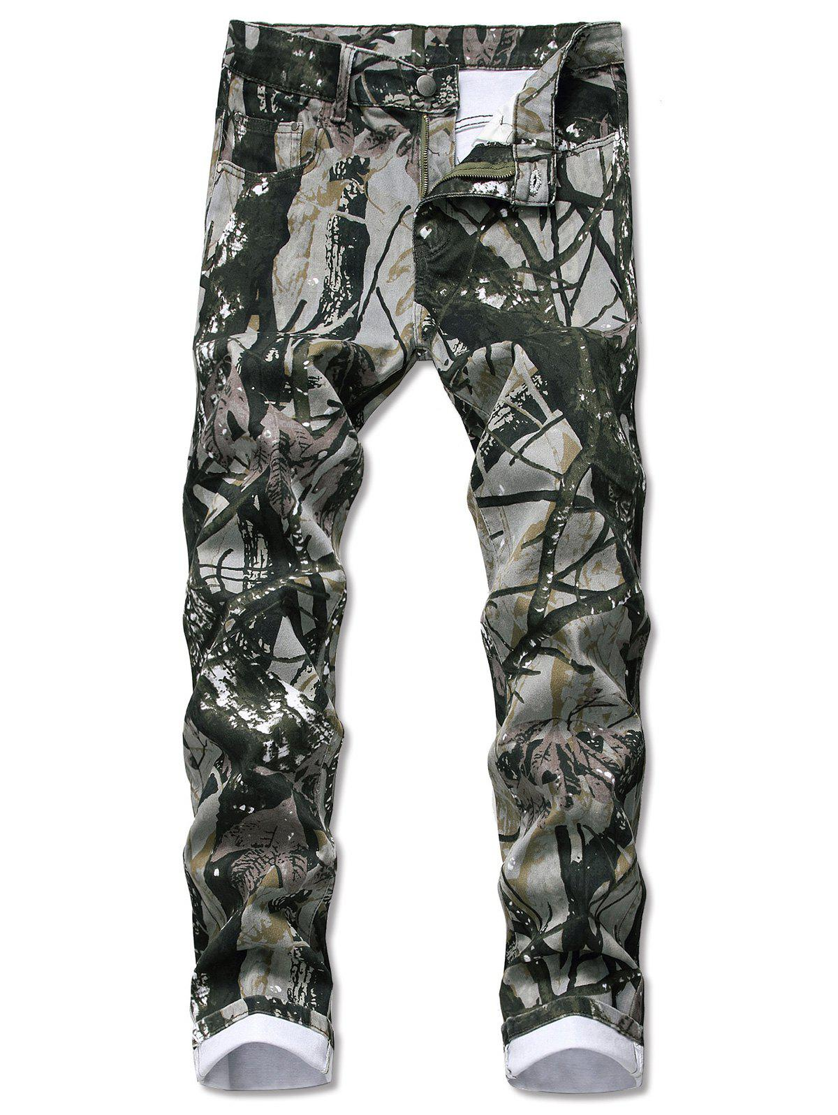 Cheap Camouflage Plant Pattern Jeans