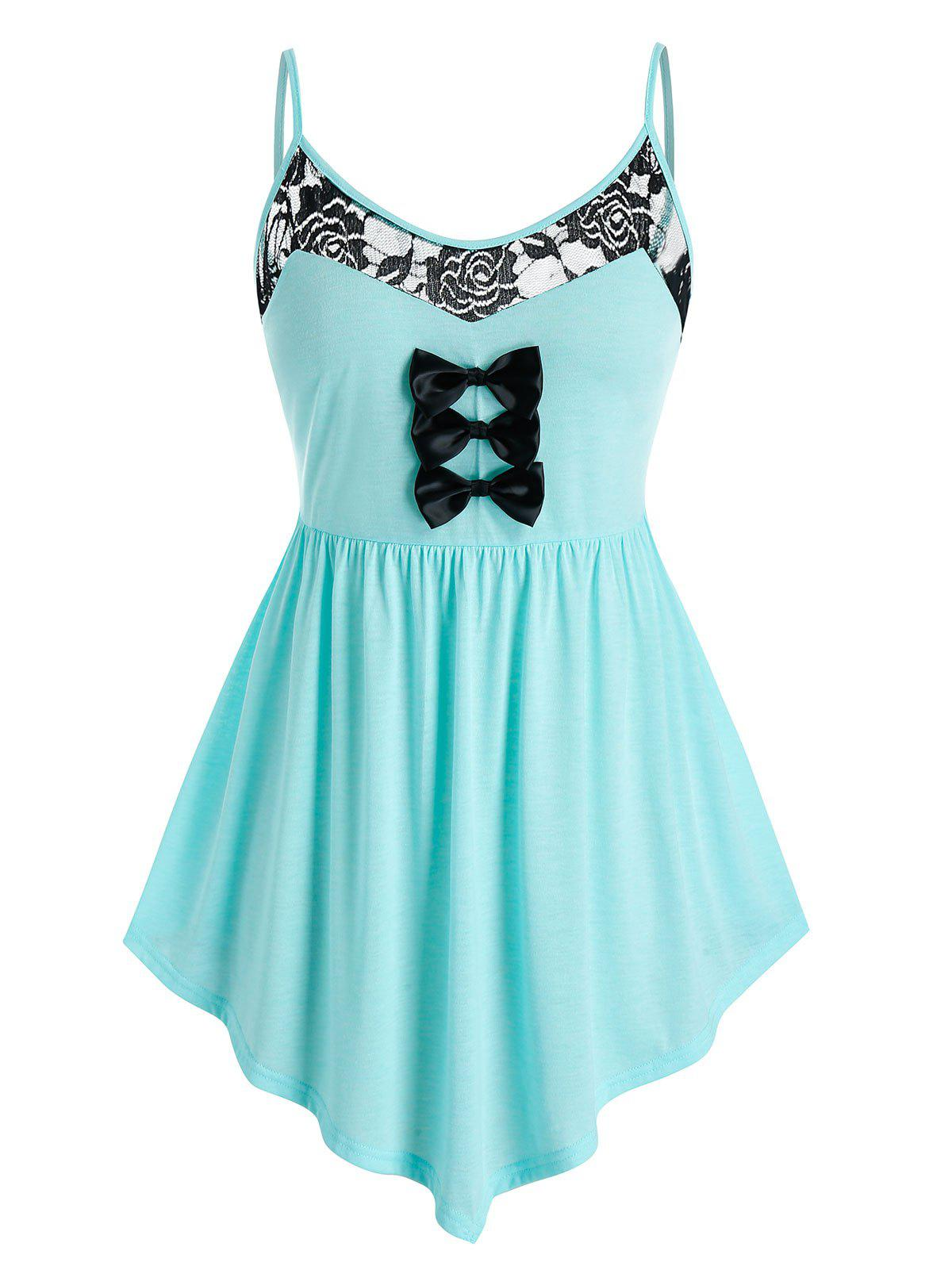 Outfit Plus Size Bowknot Lace Panel Backless Tunic Asymmetric Cami Top