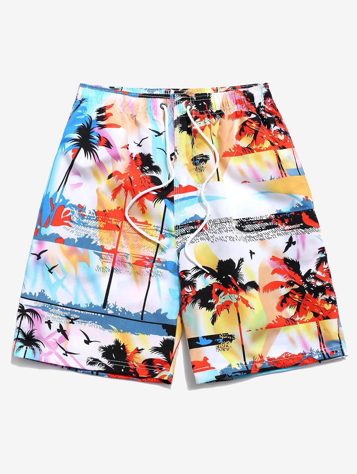 Buy Palm Tree Landscape Printed Beach Shorts