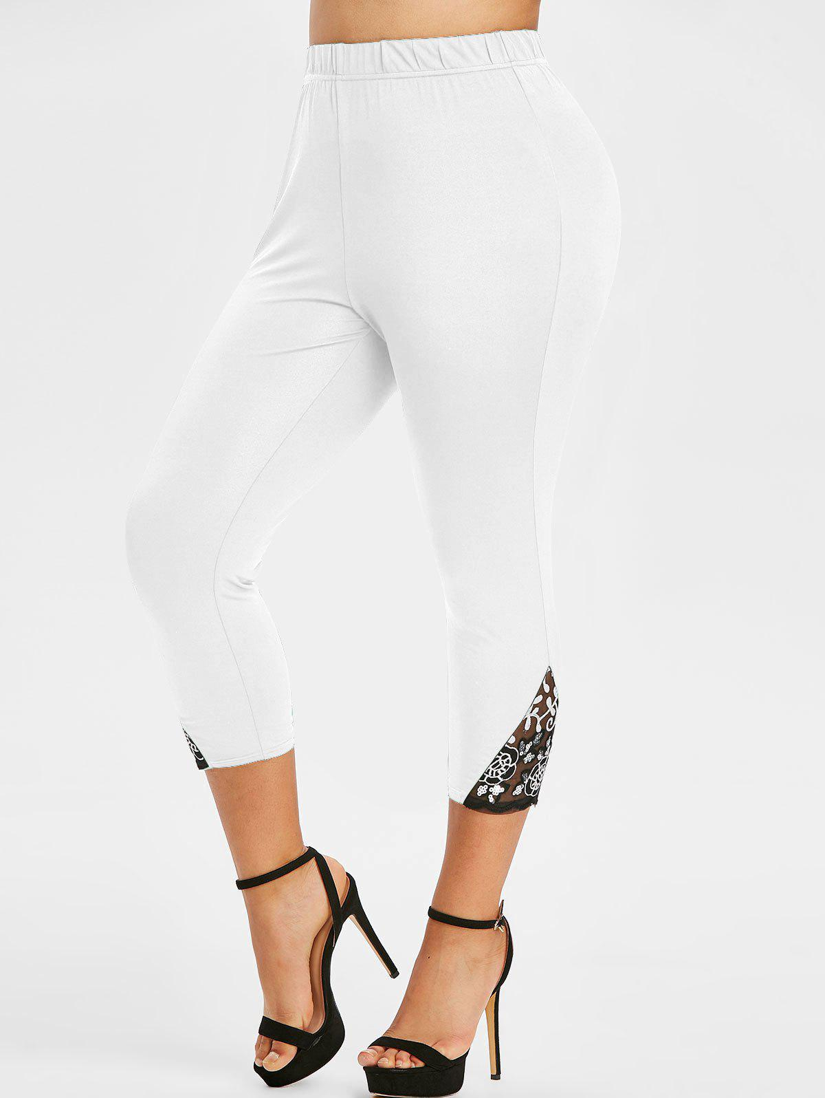 Online Plus Size Lace Mesh Sequin Fitted Leggings