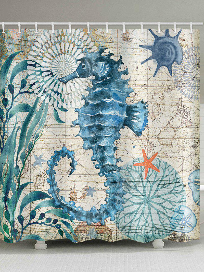 Outfit Retro Print Sea Horse Waterproof Shower Curtain