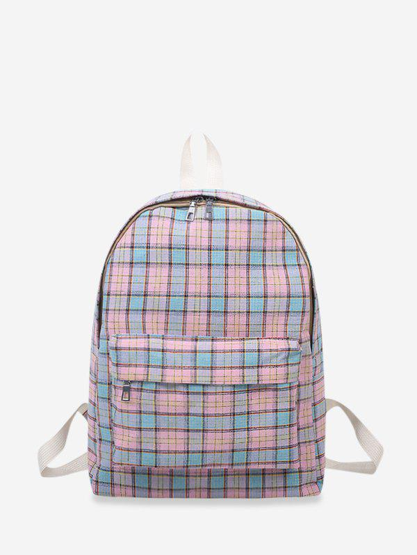 Store Plaid Print Canvas School Student Backpack