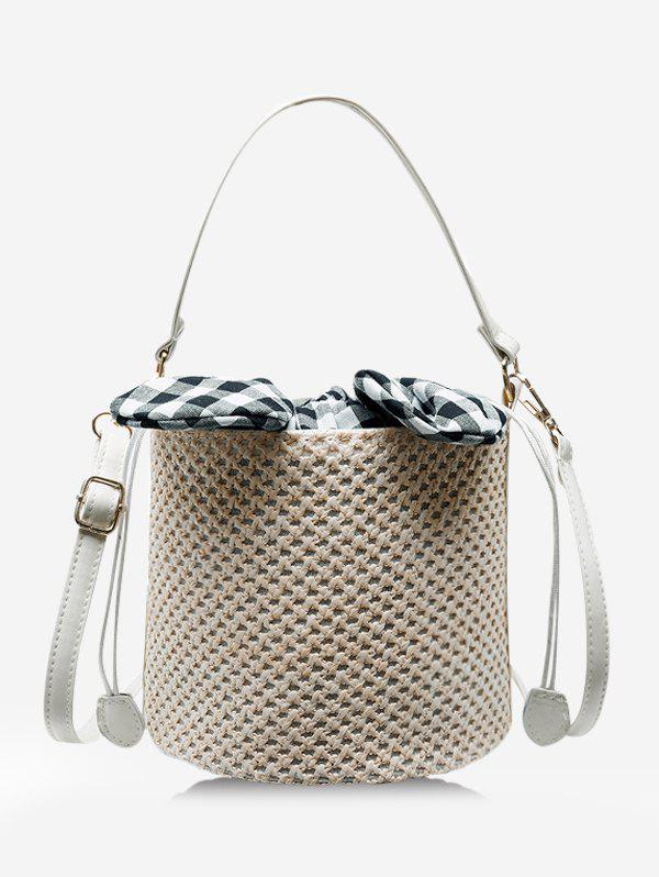 Latest Rabbit Ear Straw Drawstring Bucket Bag