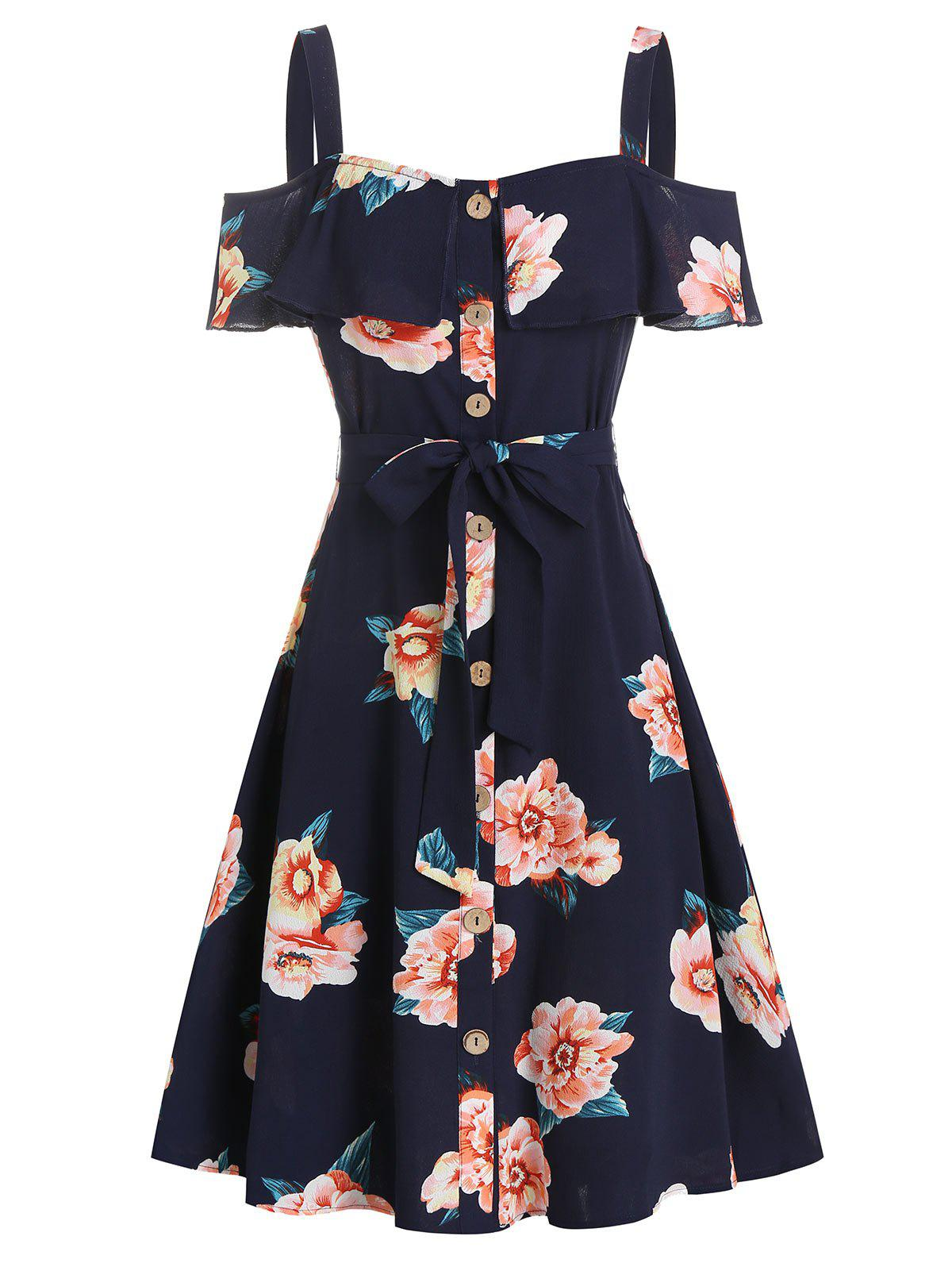 Outfit Flower Print Button Through Belted Dress