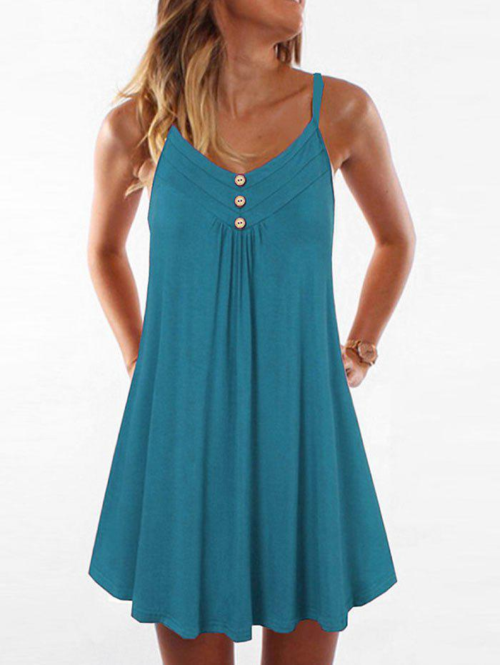 Online Mock Button Spaghetti Strap Trapeze Dress