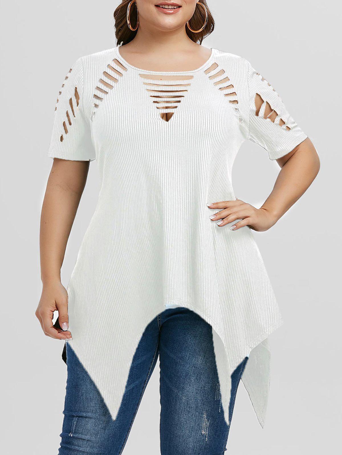 Hot Plus Size Asymmetric Ripped Cutout Ribbed Handkerchief Tee