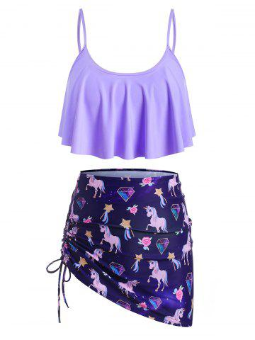 Three Piece Flounces Unicorn Cinched Plus Size Tankini Swimsuit - PURPLE IRIS - 5X