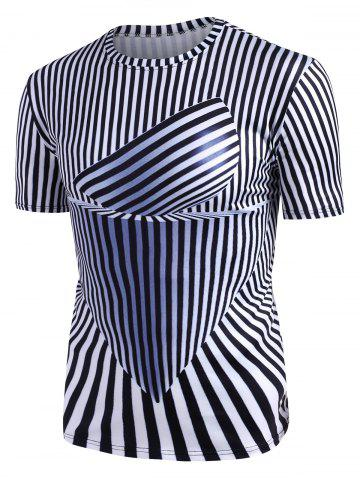 Abstract Striped Graphic Crew Neck Short Sleeve T Shirt - WHITE - 3XL