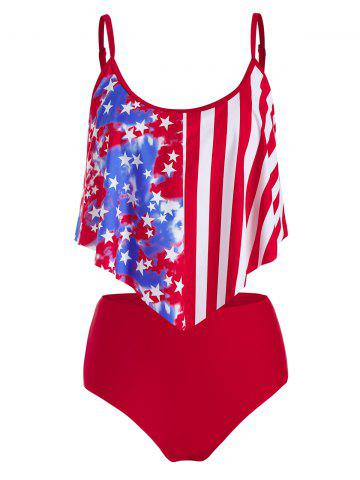 Plus Size American Flag High Waisted Flounce Tankini Swimwear - RED - 3X