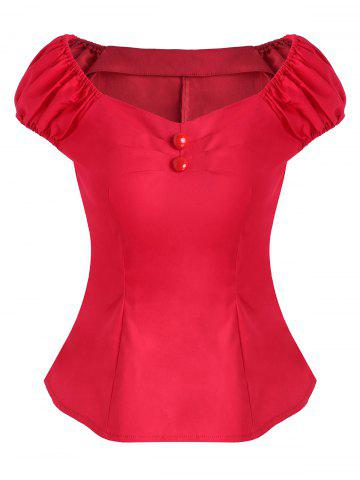 Ruched Button Embellished Cap Sleeve Blouse