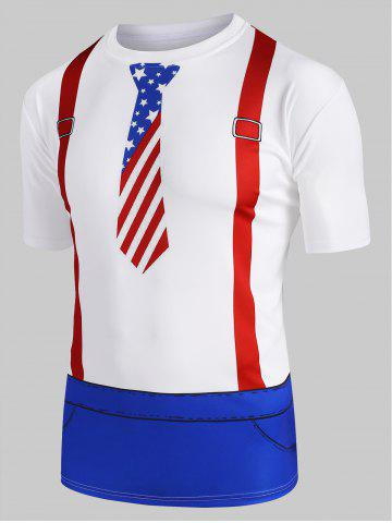 American Flag Faux Twinset 3D Print T-shirt - MILK WHITE - XL