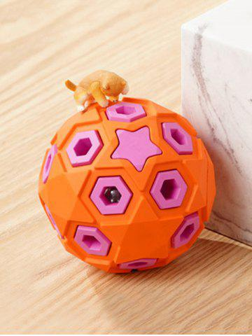 Layered Ball Shape Rubber Squeaky Dog Chew Toy - PUMPKIN ORANGE - 8CM