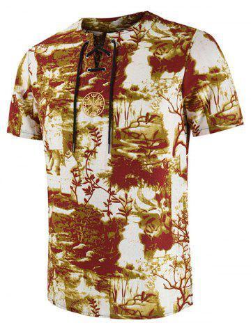 Embroidery Decorated Printed Casual T-shirt - DEEP YELLOW - 4XL